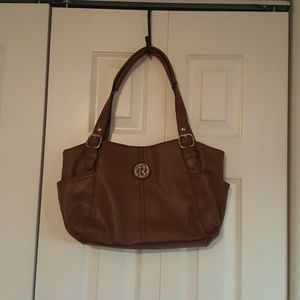 Brown Faux Leather Relic Hangbag